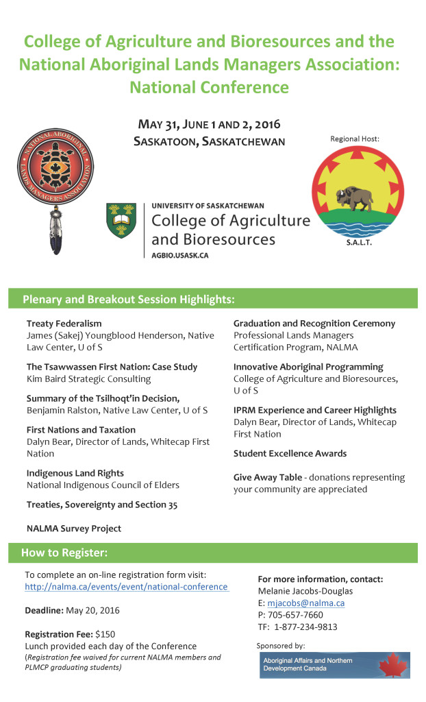 10th National Conference Poster. Hosted by NALMA, University of Saskatchewan, and Saskatchewan Aboriginal Land Technicians.